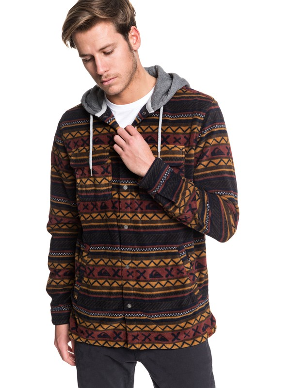 0 Surf Days Hooded Long Sleeve Polar Fleece Shirt Brown EQYWT03850 Quiksilver