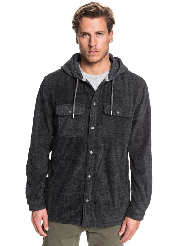 0 Surf Days Hooded Long Sleeve Polar Fleece Shirt Black EQYWT03850 Quiksilver