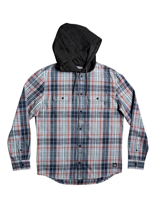 0 Mitta Tang Long Sleeve Hooded Flannel Shirt Grey EQYWT03852 Quiksilver