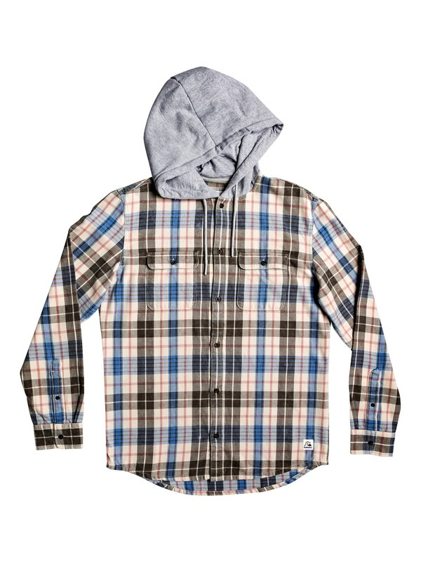 0 Mitta Tang Long Sleeve Hooded Flannel Shirt Beige EQYWT03852 Quiksilver