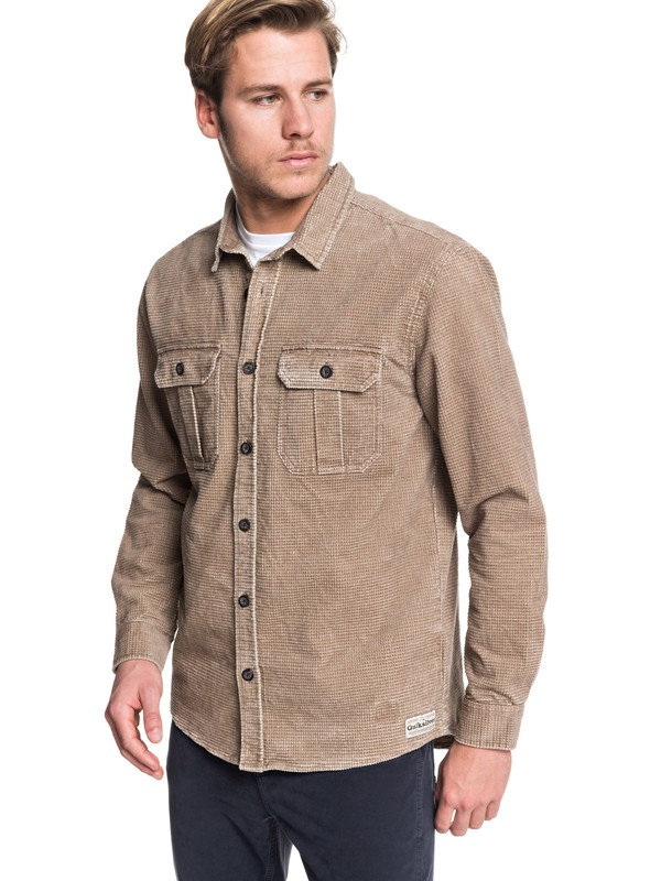 0 Sara Toga Long Sleeve Corduroy Shirt Grey EQYWT03867 Quiksilver