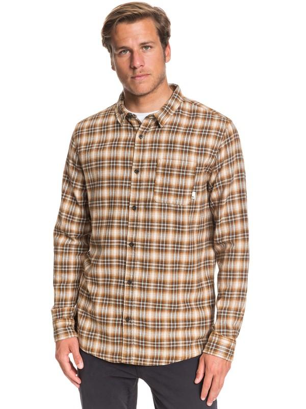0 Inca Gold Check Long Sleeve Shirt Blue EQYWT03892 Quiksilver