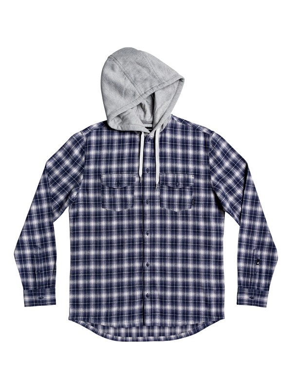 0 Snap Up Long Sleeve Hooded Flannel Shirt Blue EQYWT03895 Quiksilver