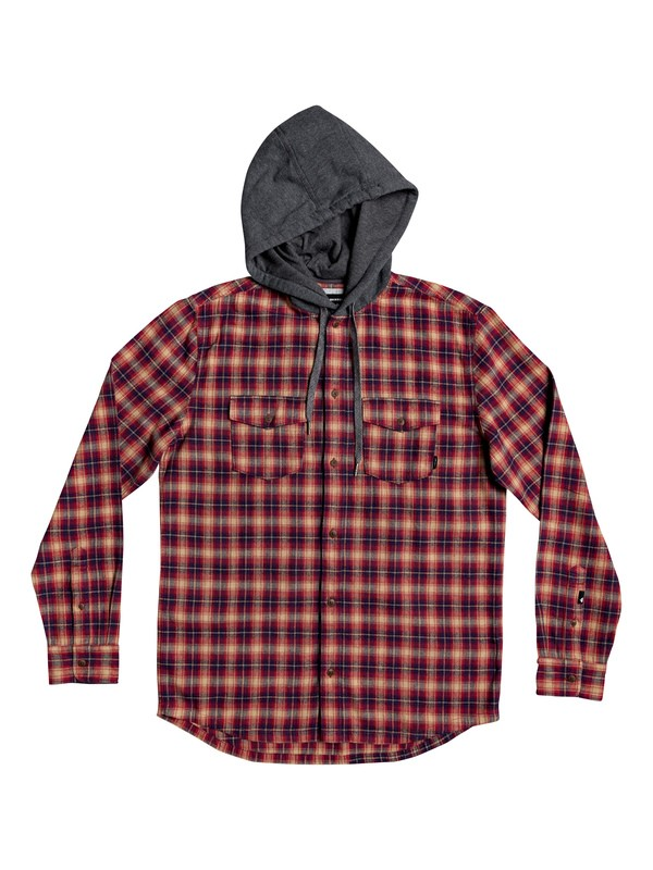 0 Snap Up Long Sleeve Hooded Flannel Shirt Red EQYWT03895 Quiksilver