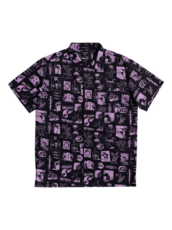0 Strange Patterns Short Sleeve Camp Shirt Black EQYWT03912 Quiksilver