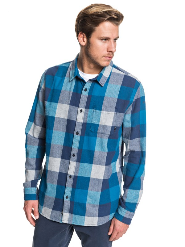 0 Motherfly Flannel Long Sleeve Shirt Blue EQYWT03918 Quiksilver