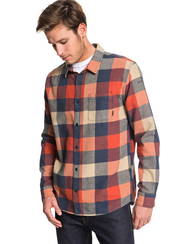 0 Motherfly Flannel Long Sleeve Shirt Pink EQYWT03918 Quiksilver