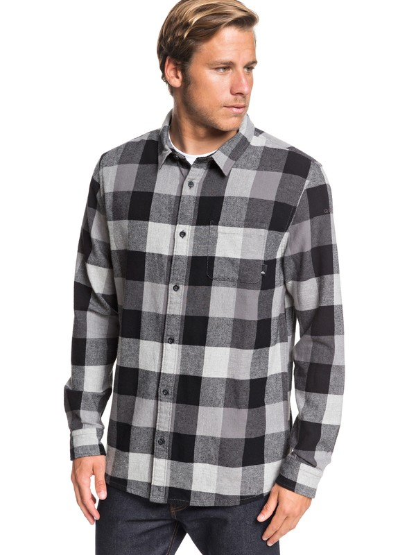 0 Motherfly Flannel Long Sleeve Shirt Grey EQYWT03918 Quiksilver