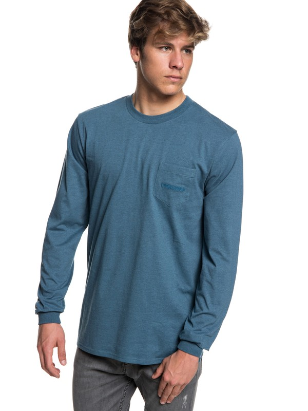 0 The Stitch Up Long Sleeve Tee Blue EQYZT05022 Quiksilver