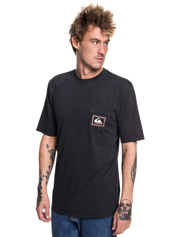 0 Originals Check Point - Camiseta con bolsillo para Hombre Negro EQYZT05042 Quiksilver