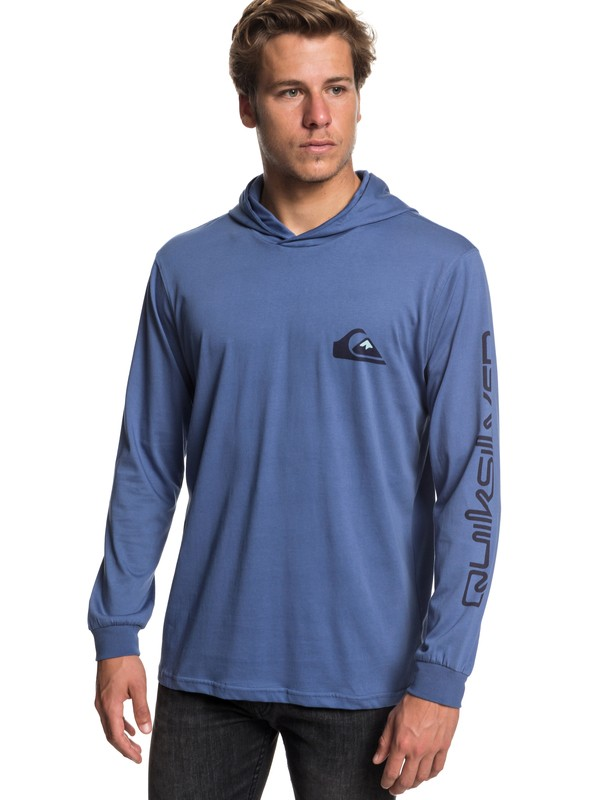 0 Vice Versa Long Sleeve Hooded Tee Blue EQYZT05169 Quiksilver
