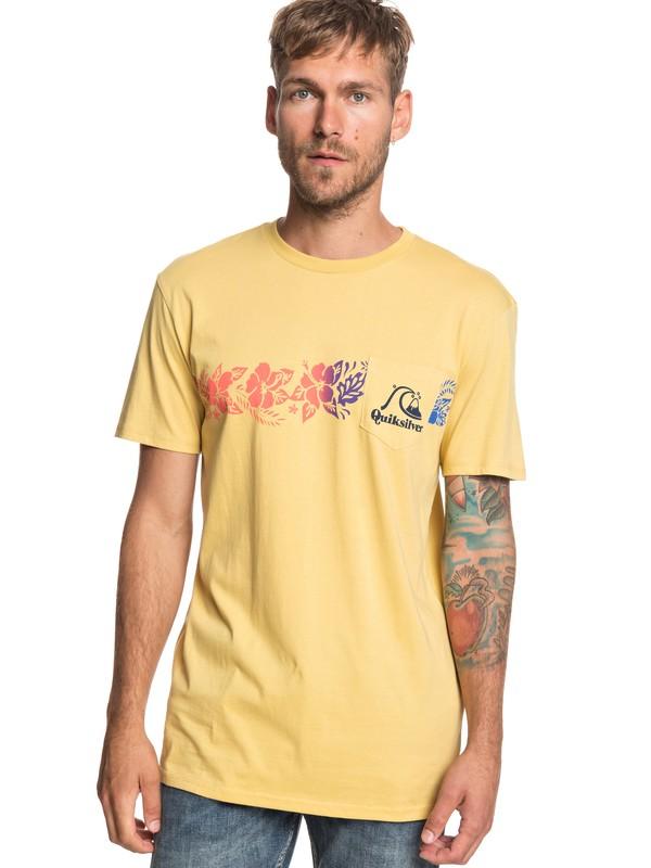 0 Футболка с карманом Tea Stripe Желтый EQYZT05221 Quiksilver