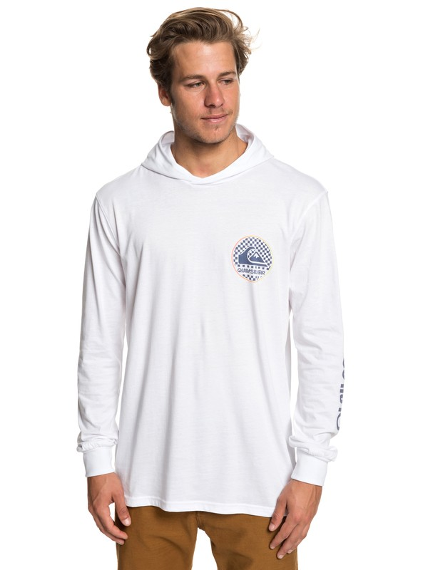 0 Check This Long Sleeve Hooded Top White EQYZT05235 Quiksilver