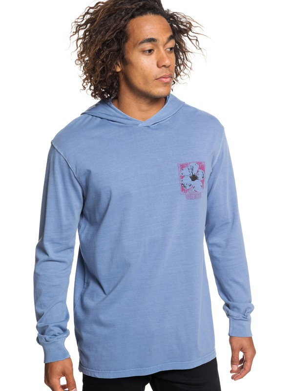 0 Sour Flower Long Sleeve Hooded Top Blue EQYZT05254 Quiksilver