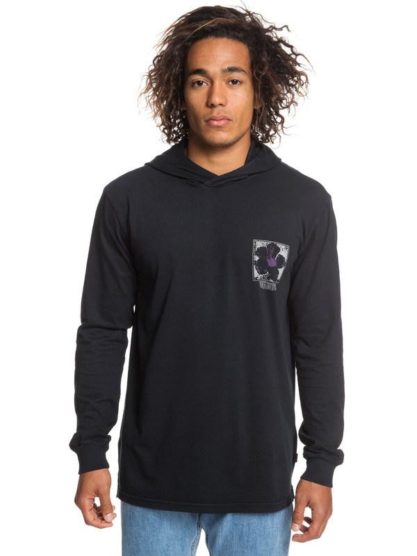 0 Sour Flower Long Sleeve Hooded Top Black EQYZT05254 Quiksilver