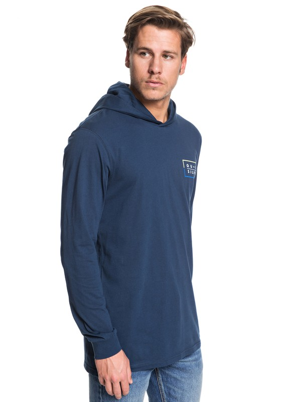0 Clued Up Hooded Long Sleeve Tee Blue EQYZT05451 Quiksilver