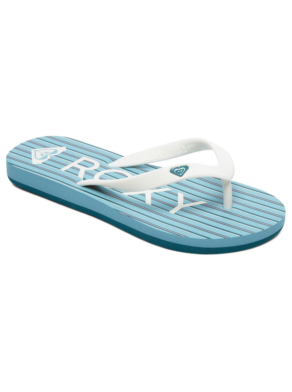 c6fa7becaacfc 0 Girl's 7-14 Tahiti Flip-Flops Blue ARGL100181 Roxy