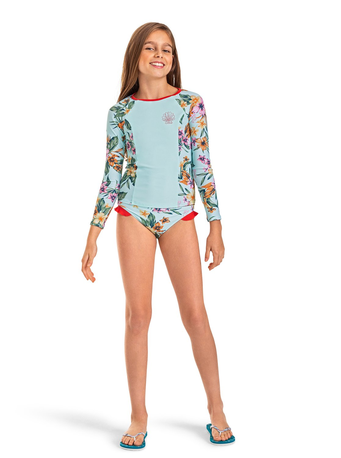 9becbfe3557a2 1 Heritage Floral Long Sleeve UPF 50 Rashguard Blue ARGWR03043 Roxy