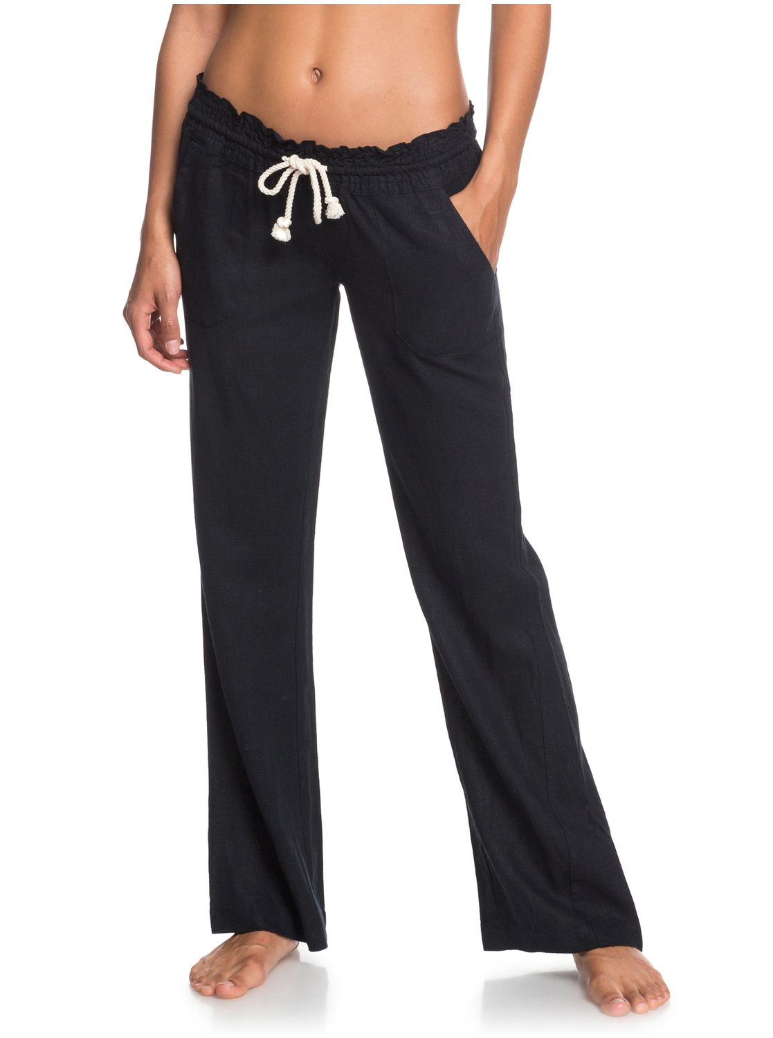 38f8d1e3ef 1 Oceanside - Flared Linen Trousers for Women Black ARJNP03006 Roxy