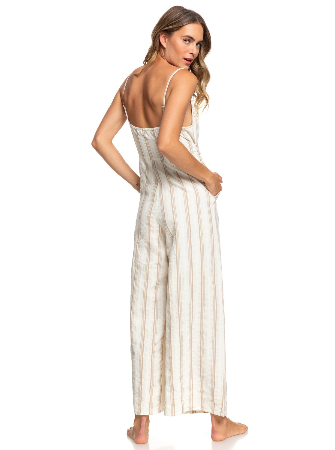 8d5d46551a9 2 Wheel And Palms Strappy Wide Leg Jumpsuit White ARJWD03253 Roxy