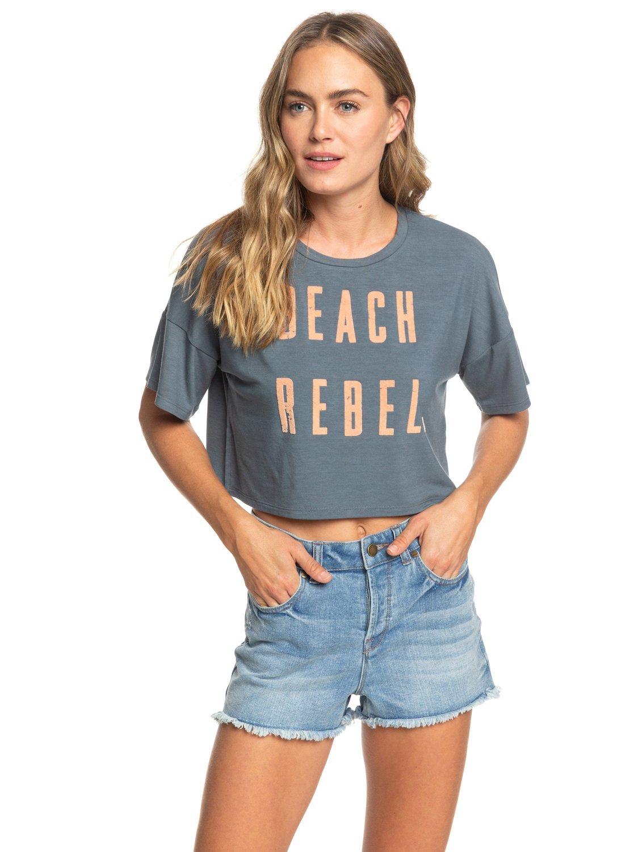 f84655b4 0 Beach Rebel Short Sleeve Boyfriend Tee Black ARJZT05202 Roxy