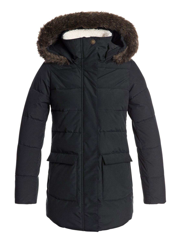 1e435ca48 0 Elsie - Waterproof Hooded Longline Puffer Jacket for Girls 8-16 Black  ERGJK03054 Roxy