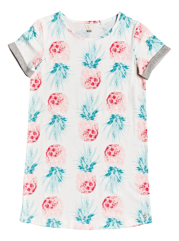 a8803f37c85c 0 Girl s 7-14 Night Jungle Short Sleeve T-Shirt Dress White ERGKD03090 Roxy