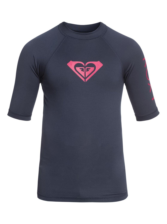 c32a60542e 0 Girl's 7-14 Whole Hearted Short Sleeve UPF 50 Rashguard Blue ERGWR03079  Roxy