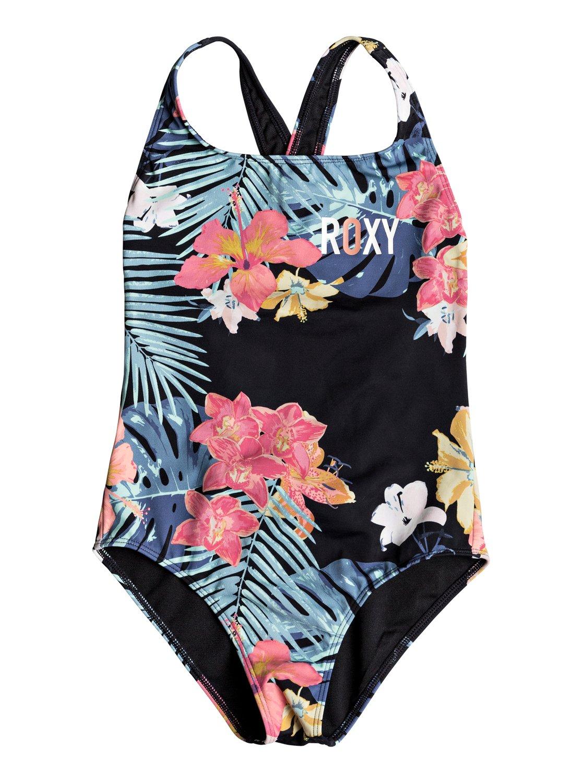 07c7c1322f0fd 0 Girl's 7-14 Island Trip One-Piece Swimsuit Black ERGX103043 Roxy