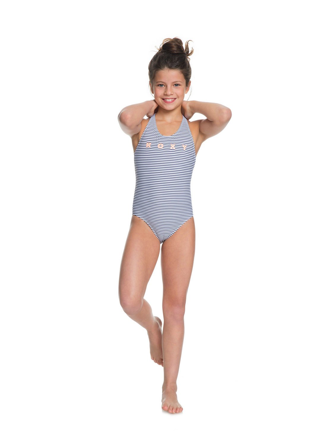 4de93b055e 2 Girl's 7-14 Surfing Free One-Piece Swimsuit Blue ERGX103047 Roxy