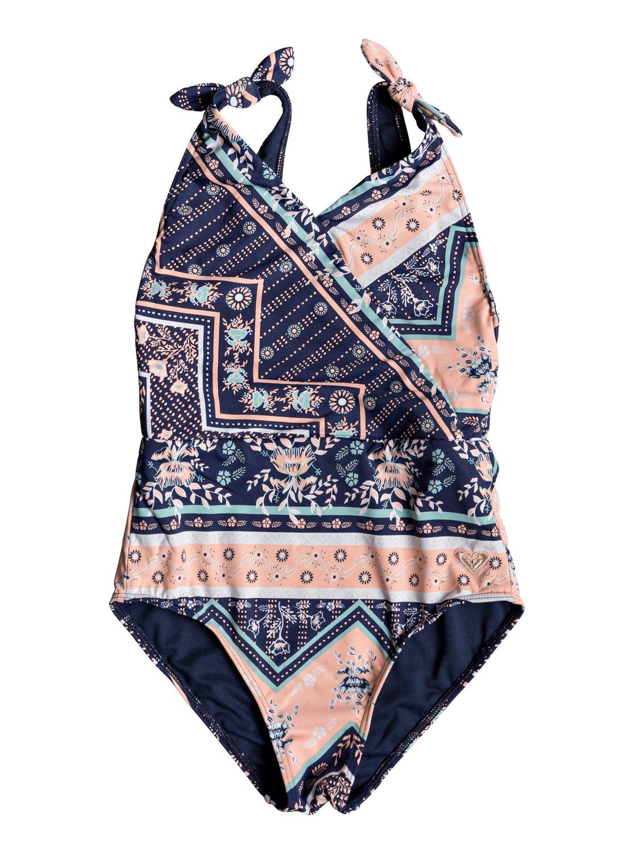 41d529d830d 0 Girl's 7-14 Heart In The Waves One-Piece Swimsuit Blue ERGX103051 Roxy