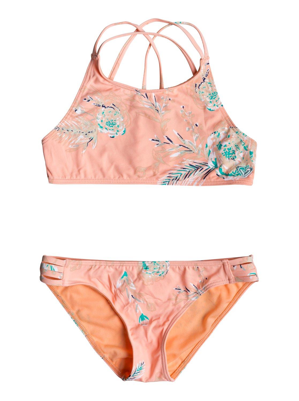 6f2fabcfe3 0 Girl's 7-14 Darling Girl Crop Top Bikini Set Pink ERGX203191 Roxy