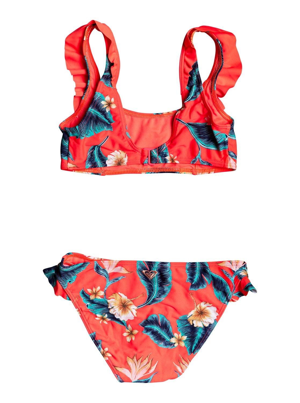 Roxy Girls Big Tropi Sporty Long Sleeve Rashguard Swimsuit Set