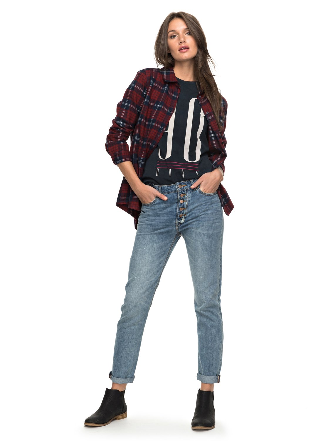 d4845bd37a072 0 I Feel Free High Waisted Straight Fit Jeans ERJDP03166 Roxy
