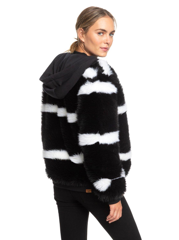 b98c4365c 3 Carrie Technical Faux Fur Jacket Black ERJJK03236 Roxy