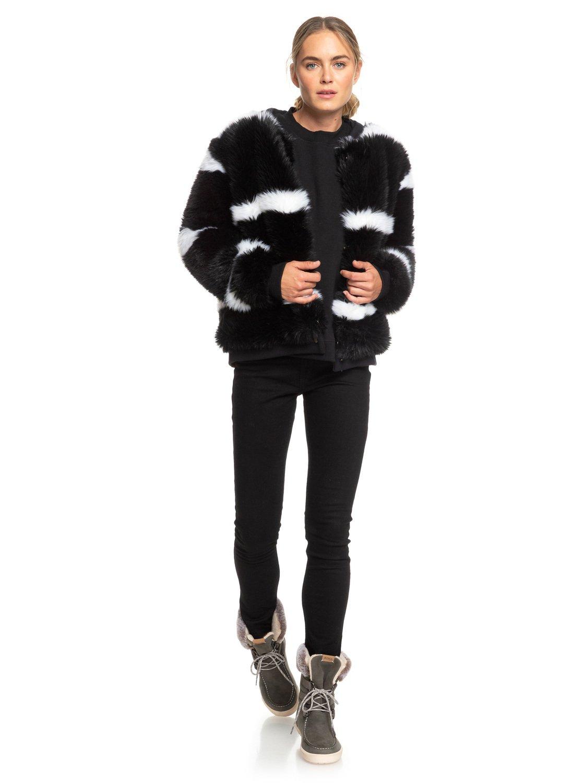 11c3eb62b 2 Carrie Technical Faux Fur Jacket Black ERJJK03236 Roxy