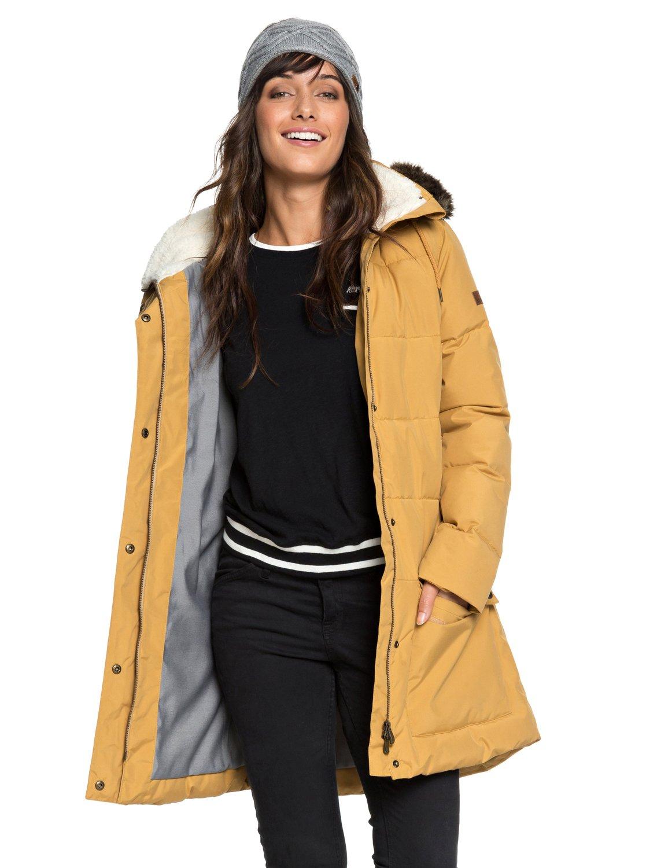 1fcc49b1c92 0 Ellie - Chaqueta acolchada impermeable de corte largo con capucha para  Mujer Marron ERJJK03239 Roxy