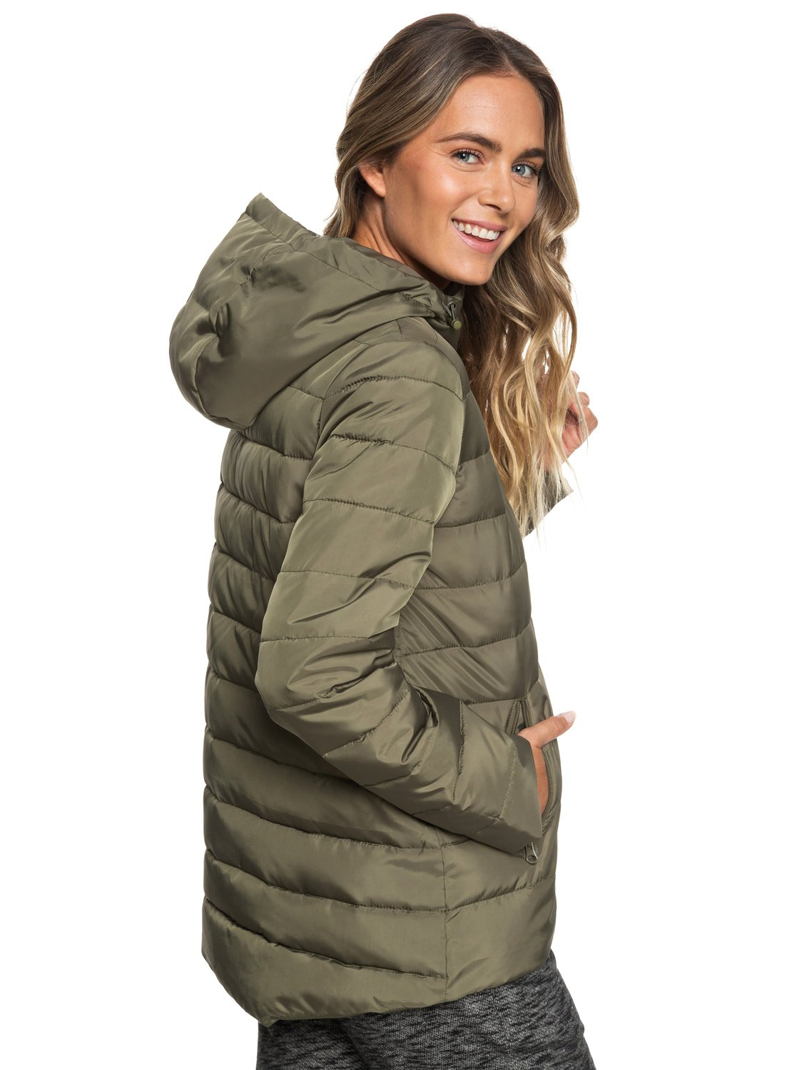 5dad0df815c9 5 Rock Peak Water-Repellent Hooded Padded Jacket Green ERJJK03250 Roxy