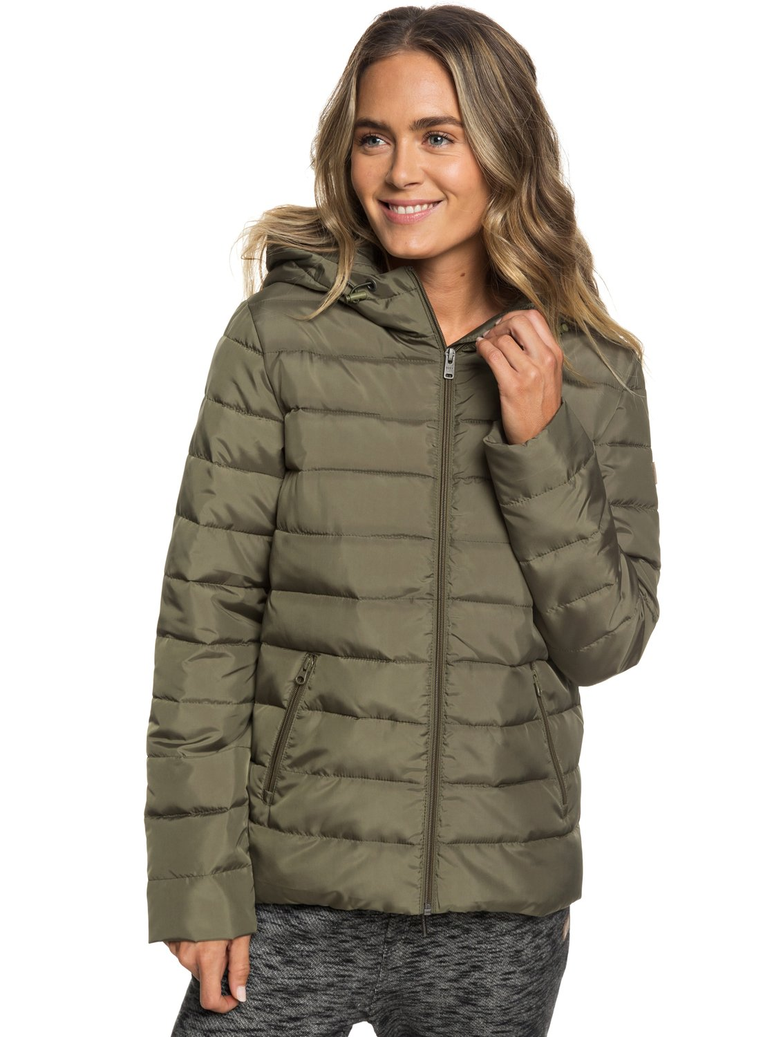 ac80512a1308 1 Rock Peak Water-Repellent Hooded Padded Jacket Green ERJJK03250 Roxy