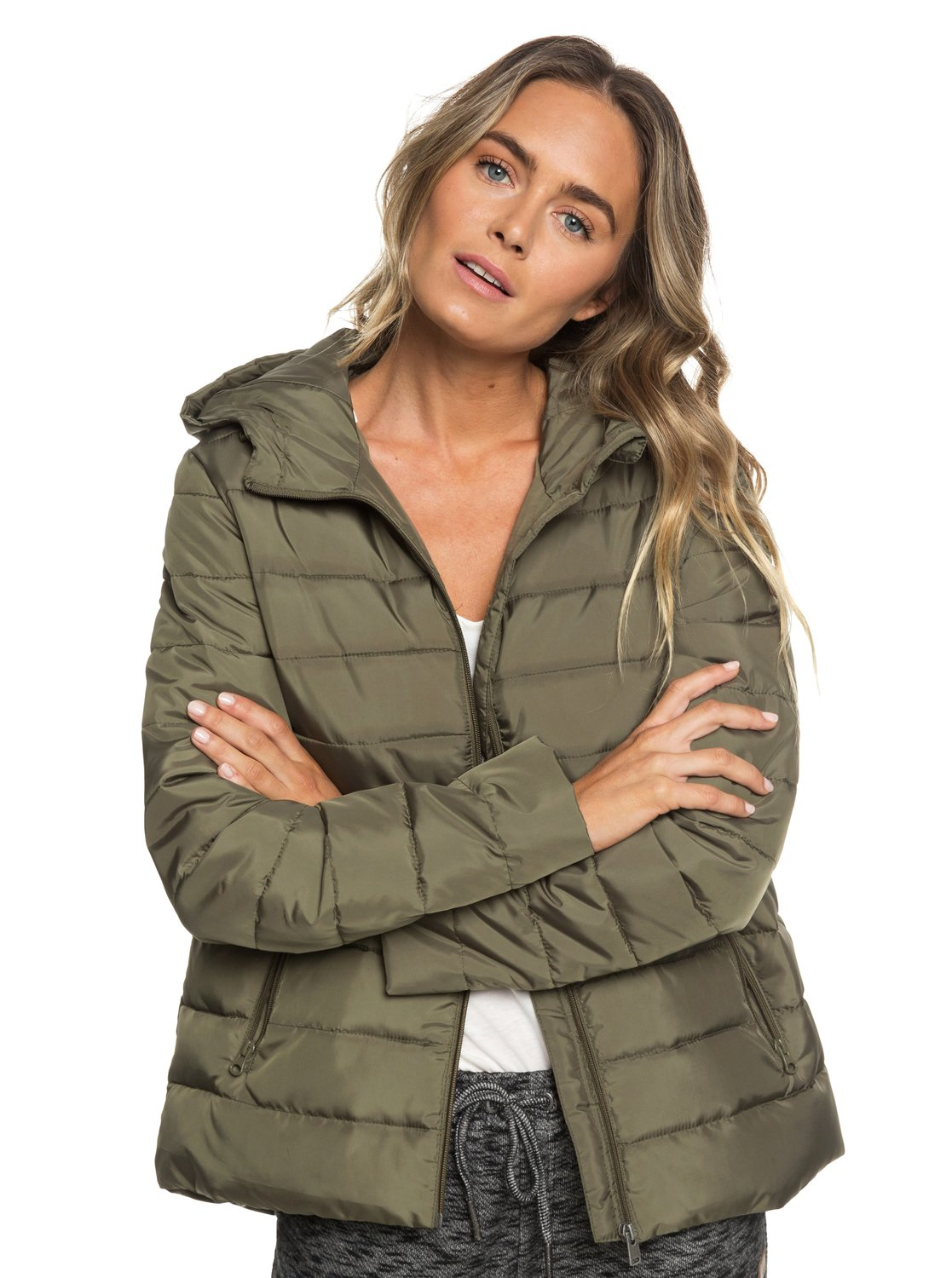 b706e8c9e7e7 2 Rock Peak Water-Repellent Hooded Padded Jacket Green ERJJK03250 Roxy