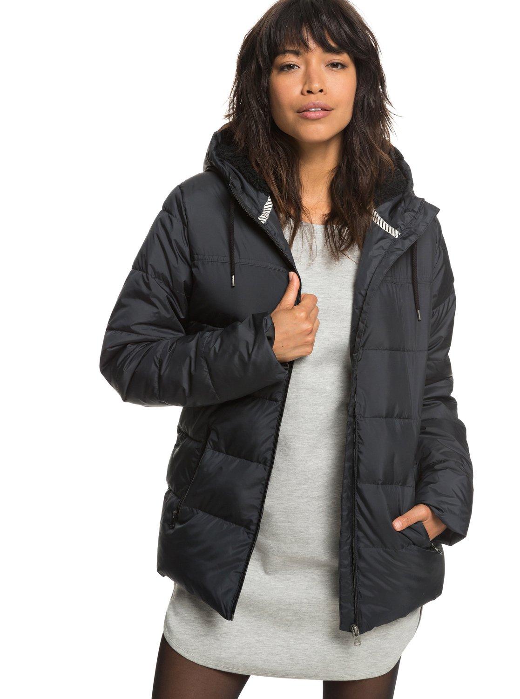 0726155cec5 0 Harbor Days - Chaqueta acolchada impermeable con capucha para Mujer Negro  ERJJK03254 Roxy