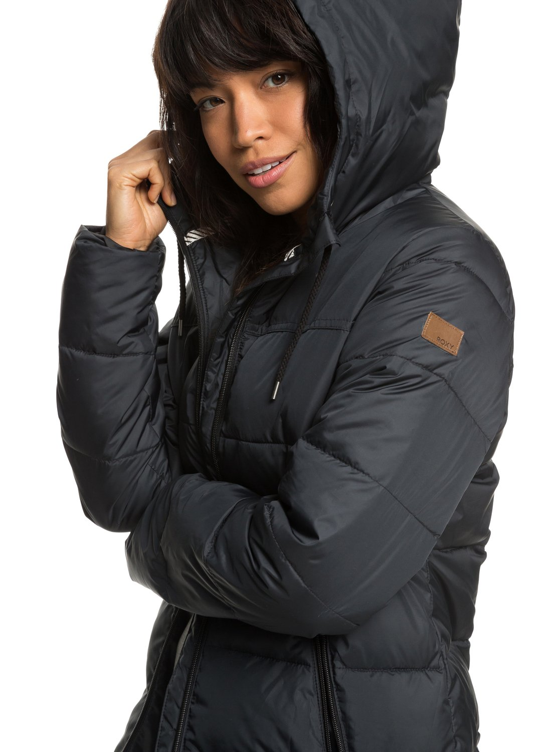 5c50101ab13a 1 Harbor Days - Water Repellent Hooded Puffer Jacket for Women Black  ERJJK03254 Roxy