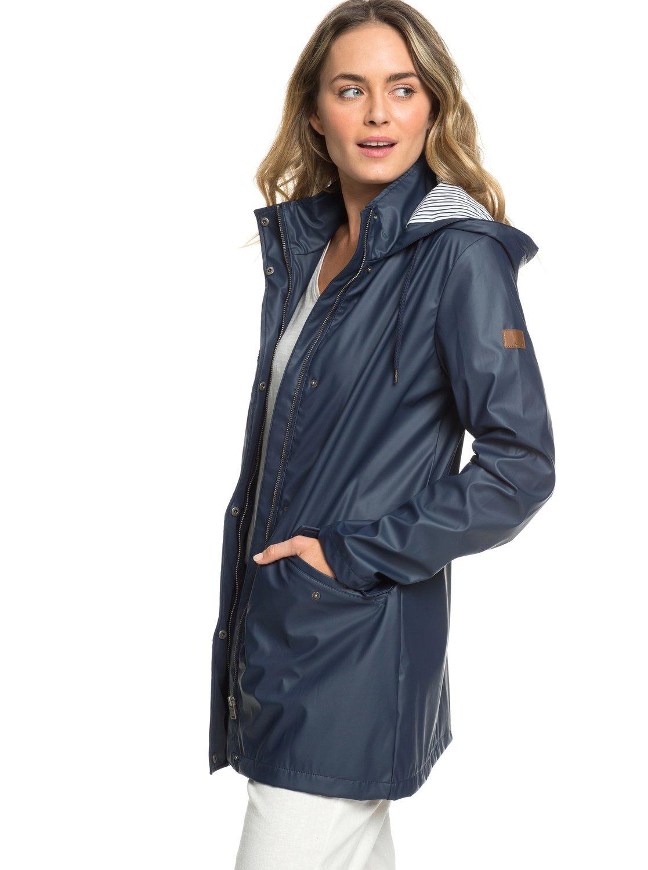 f71cb23cbd282e 1 Early Morning - Wasserabweisender Regenmantel für Frauen Blau ERJJK03277  Roxy