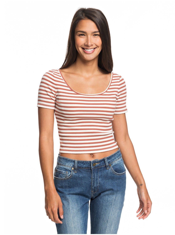 get online sleek top design Hey U Rock - Short Sleeve Cropped Ribbed Top