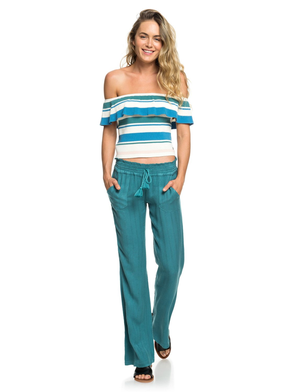 cb81832a07 0 Oceanside Flared Linen Pants Blue ERJNP03184 Roxy