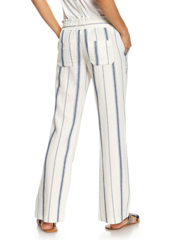 3ea6f96d05 3 Oceanside Flared Linen Pants White ERJNP03210 Roxy