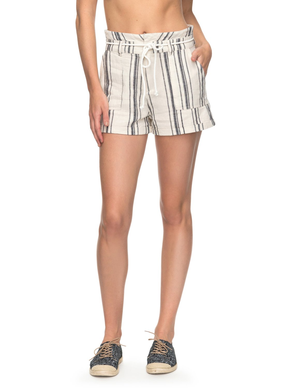 8445eb2955 1 San Salvador Stripy Linen Shorts ERJNS03149 Roxy