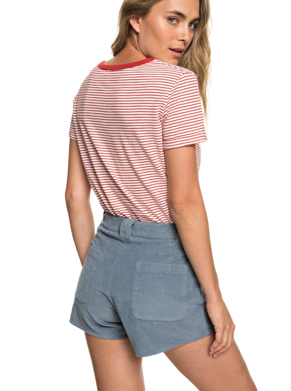 89e9231880b 3 Boy Rules - Short taille haute en velours pour Femme Bleu ERJNS03208 Roxy
