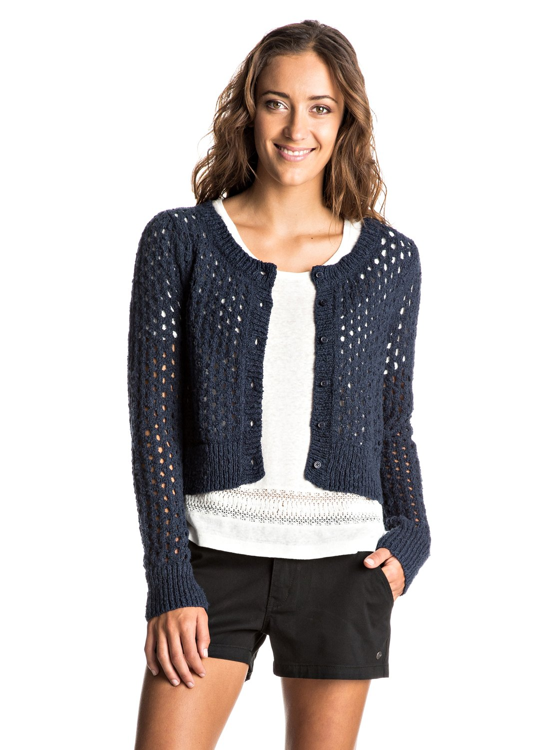 4410c485d7 0 My Adventure - Cropped Knitted Cardigan ERJSW03191 Roxy