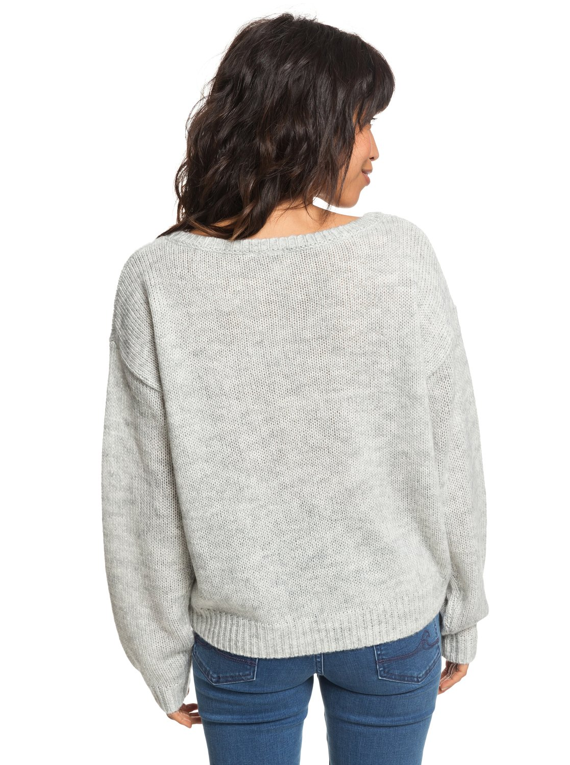 2b94174840f 4 Sunny Street - Pull col rond pour Femme Gris ERJSW03285 Roxy